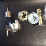A commercial locksmith works